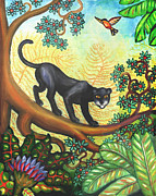 Panthers Painting Prints - Black Panther Print by Linda Mears