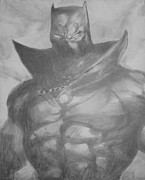 Blue And Gray Drawings - Black Panther by Milton  Gore
