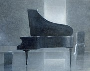 Pianos Paintings - Black piano 2004 by Lincoln Seligman