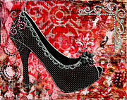 Pink Shoes Prints - Black polka dot shoes with red abstract background Print by Janelle Nichol