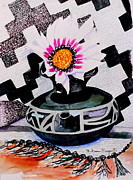 Native American Rug Prints - Black Pot Print by M Diane Bonaparte