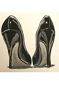 Stilettos Paintings - Black Pumps by Marisela Mungia