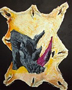 South African Mixed Media Prints - Black Rhino by Bob Mnisi Print by Artists Mbombela