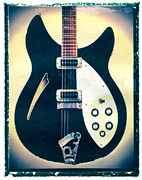 Guy Gifts For Him Posters - Black Rickenbacker Guitar Art Print Poster by Artful Musician NY
