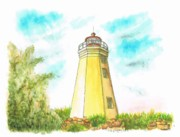 Watercolor And Ink Paintings - Black Rock Harbor Lighthouse - Connecticut by Carlos G Groppa