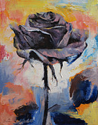 Dark Art Painting Prints - Black Rose Print by Michael Creese