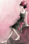 Fashion Art Prints Paintings - Black Ruffled Dress with Roses Fashion Illustration Art Print by Beverly Brown Prints