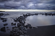 Water Pastels Prints - Black sand beach Print by Francesco Emanuele Carucci
