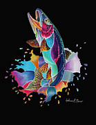 Fly Fishing Mixed Media Prints - Black Scribble Trout Print by Anderson R Moore