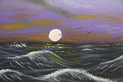 Sea Moon Full Moon Painting Metal Prints - Black Seas Metal Print by Victor Alderson