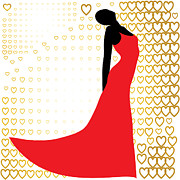 Garment Originals - Black Silhouette Of  Beautiful Woman In Red Dress by Larisa Karpova