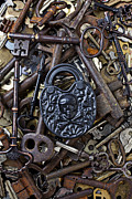 Rust Metal Prints - Black skull and bones lock Metal Print by Garry Gay