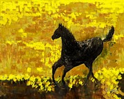 Shesh Tantry Prints - Black Stallion Print by Shesh Tantry