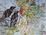 Starlings Paintings - Black Starlings and the Ripe Melon by Linda Wan