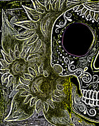 Night Angel Paintings - Black Sunflower Skull by Lovejoy Creations