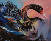 Black Swans Framed Prints - Black Swan Framed Print by Michael Creese