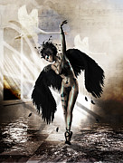 Ballet Art Digital Art Prints - Black Swan Print by Shanina Conway