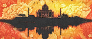 Building Mixed Media Metal Prints - Black Taj Mahal Metal Print by Mo T