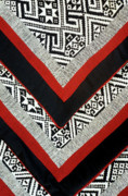 Stitched Acrylic Prints - Black Thai Fabric 01 Acrylic Print by Rick Piper Photography