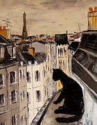 Paris Black Cats Framed Prints - Black the black cat on Paris roofs Framed Print by Atelier De  Jiel