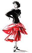 High Fashion Originals - Black Top red Skirt by Angelo Divino