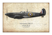 Mitchell Prints - Black Travancore II Spitfire - Map Background Print by Craig Tinder