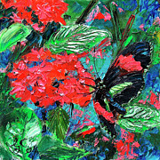 Ginette Fine Art LLC Ginette Callaway - Black Tropical Butterfly on Red Flowers