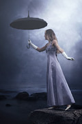 Evening Dress Metal Prints - Black Umbrella Metal Print by Joana Kruse