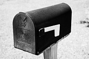 Lowered Prints - Black Us Mail Mailbox With Flag Loweredl Usa Print by Joe Fox