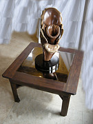 Black Sculpture Originals - Black Walnut table an Orchid Sculpture  by Ivan Rijhoff