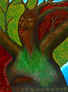 Shamanistic Paintings - Black Walnut Tree Goddess by Annette Wagner