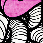 Curving Lines Framed Prints - Black White and Pink Framed Print by Art Block Collections