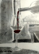 Pouring Wine Drawings - Black White and Red Wine by Chenee Reyes