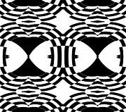 Op Art Digital Art Posters - Black White Pattern Op Art Print No.254. Poster by Drinka Mercep