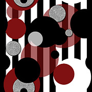Polkadots Posters - Black White Red Stripes and Polkadots Poster by Cindy Boyd