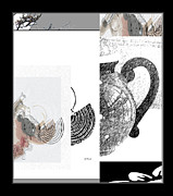 Teapot Digital Art Framed Prints - Black White Tea Framed Print by Gretchen Wrede