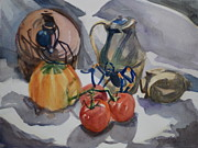 Tarantula Paintings - Black Widow and Orange kneed Tarantula With Tomatoes Squash and Buddha Head. by Margaret Montgomery