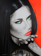 Lips  Paintings - Black Widow by Christian Chapman Art