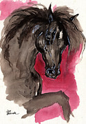 Drawing Painting Originals - Black wild horse by Angel  Tarantella