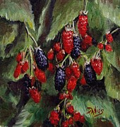 Black Berries Painting Framed Prints - Blackberries Everywhere Framed Print by Debra Davies