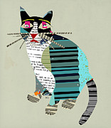 Cat Portraits Mixed Media Prints - Blackberry Cat Print by Brian Buckley