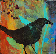 Robin Maria Pedrero Metal Prints - Blackbird and Berries Metal Print by Robin Maria  Pedrero
