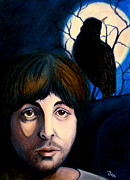 Mccartney Drawings Posters - Blackbird Poster by Debi Pople