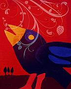 Blackbird Mixed Media Metal Prints - Blackbird Metal Print by Lutz Baar