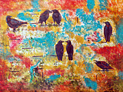 Blackbird Mixed Media Metal Prints - Blackbird Metal Print by To-Tam Gerwe