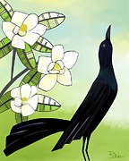 Barbara Drake Prints - Blackbird Under the Magnolia Print by Barbara Drake