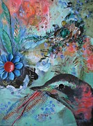 Blackbird Mixed Media Metal Prints - Blackbirds Garden Metal Print by Jeannine Clesie