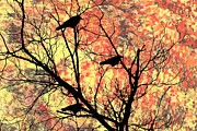 Blackbird Digital Art Posters - Blackbirds in a Tree Poster by Bill Cannon