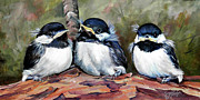 Branch Painting Originals - Blackcapped Chickadee Babies by Suzanne Schaefer