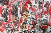 Hawks Mixed Media - Blackhawks collage by John Sabey Jr